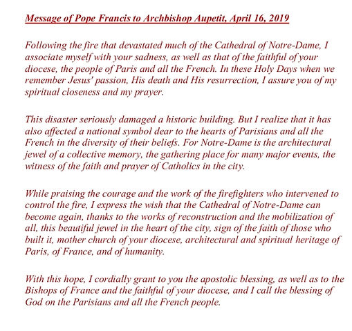 Message of Pope Francis to Archbishop Au