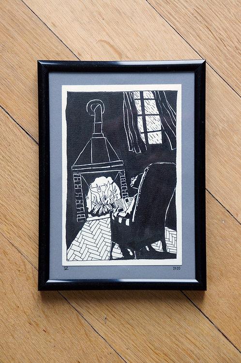 Lecteur à la cheminée - Dessin original