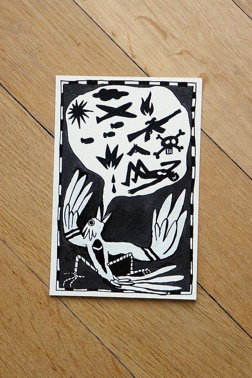 Oiseau conteur - Dessin original