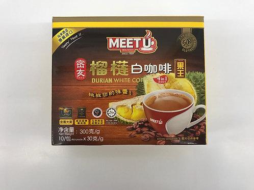 MEET U Durian White Coffee 4 in 1, 6 bags/batch