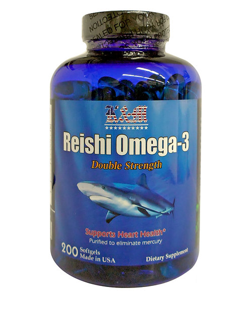 K & M REISHI OMEGA -3  FISH OIL Double Strength (200 Softgels)