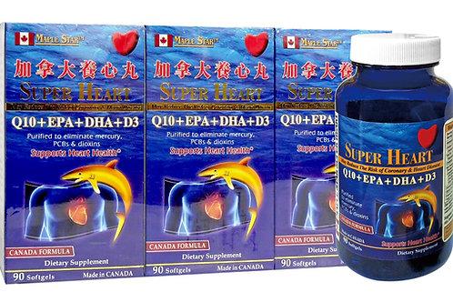 (Wholesale Set of 3 )Super Heart Q10+EPA+DHA+D3 (90 Softgels) 加拿大養心丸
