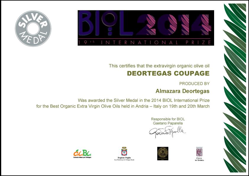 Премия Био-масел Deortegas