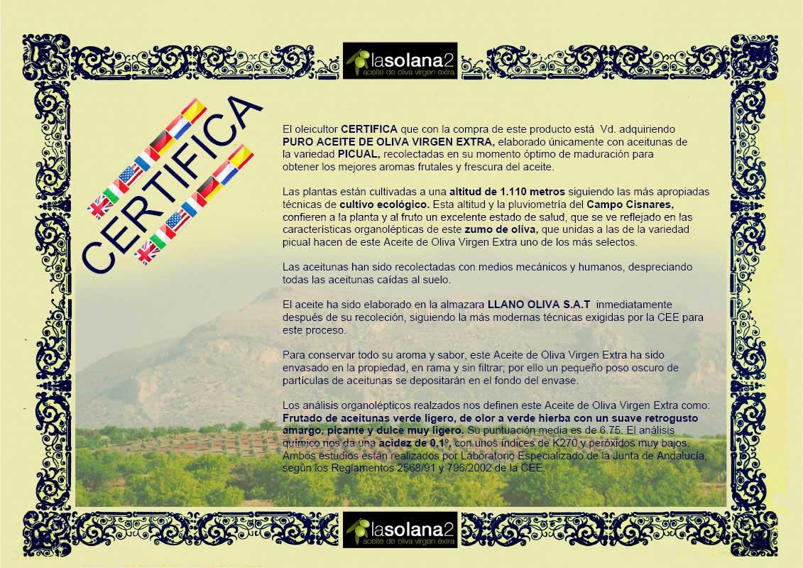 Сертификат Качества Lasolana2