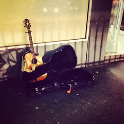 My busking spot last night _) #BuskingLife #BravingMelbourneWinter #RachelClarkMusic