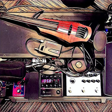 One of Winslow's pedalboard setups