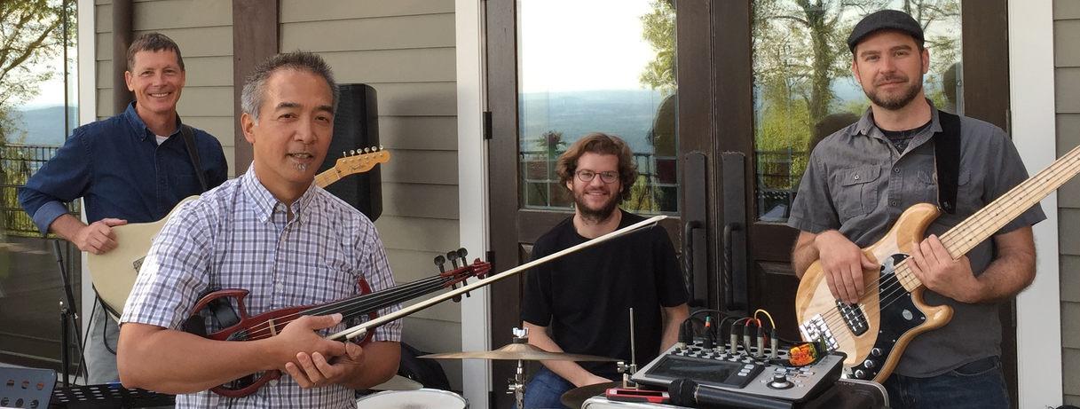 The Winslow Davis Ensemble at Burritt on the Mountain's Baron Bluff. Pictured: John Knox, Winslow Davis, Cameron Fish, Mike McAlister