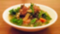 Mouthwatering sweet Italian sausage meatballs with white beans, onions, carrots, and kale in our delicious Chicken Jus.