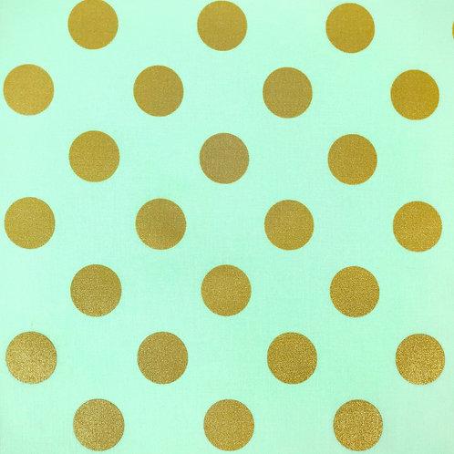 Отрез (100/110) Горошки золотые на мятном от Micheal Miller