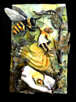 HER BED TOOK HER OUT TO THE GARDEN WHERE THE BEE THOUGHT SHE WAS HONEY AND TOOK HER TO THE HONEYCOMB