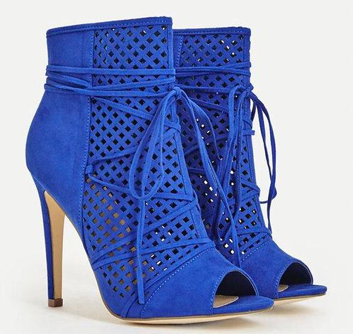Cobalt Blue Open Toe Bootie
