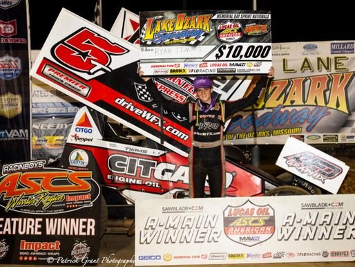 Ryan Timms Makes History With Lucas Oil ASCS At Lake Ozark Speedway