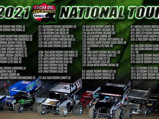 61 Events Line 2021 Lucas Oil American Sprint Car Series National Tour