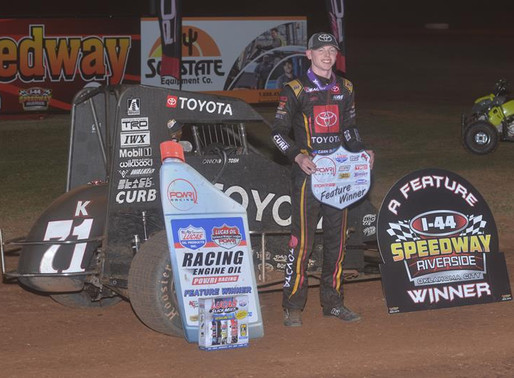 MCINTOSH STEALS LATE RACE WIN AT I-44 RIVERSIDE SPEEDWAY