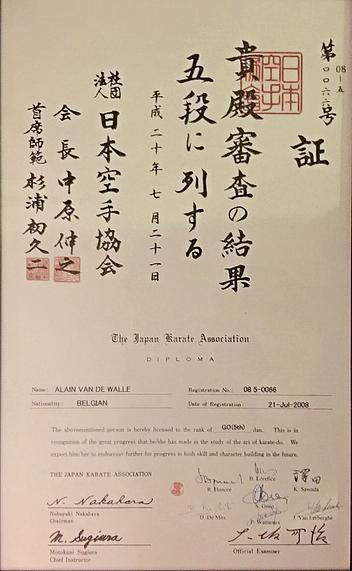 Diploma van Sensei Van de Walle