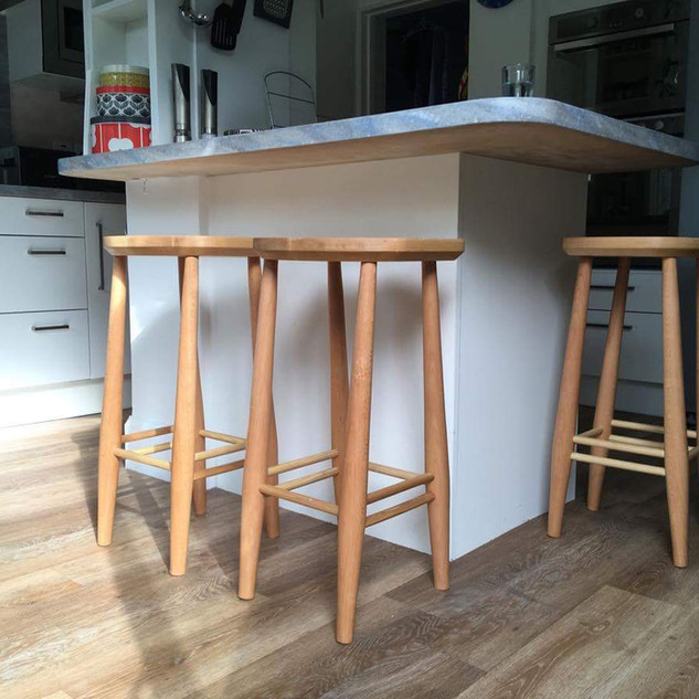 Beech and ash bar stools