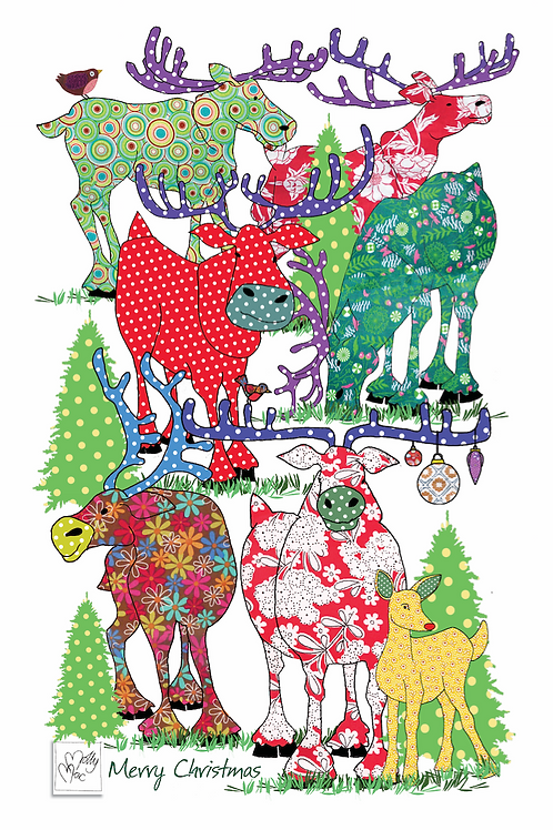 Sleigh Bells Ring Reindeer  | Tea towel