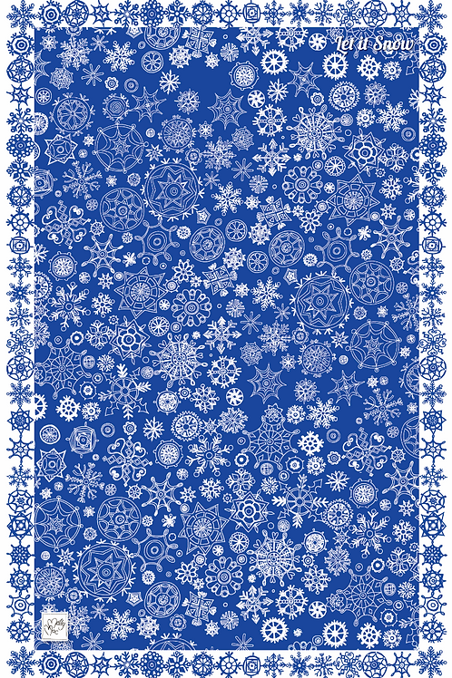 Let It Snow Blue  | Tea towel