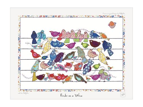 Bird art print with border