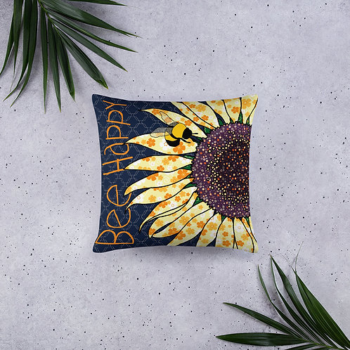 "Bee Happy Sunflower | Throw Cushion | 20x12"" 18x18"" 22x22"""