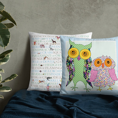 Animal Collective Nouns | Parliament of Owls | Throw Cushion | 22""