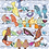 Birds on a wire tea towel, printed cotton, pale blue patterned background with many colourful birds on wires