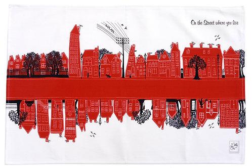 On the Street Red  | Tea towel