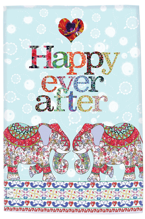 "tea towel. Printed kitchen towel with two elephants and heading slogan ""Happy Ever After'"