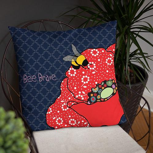 "Bee Brave Poppy | Throw Cushion | 20x12"" 18x18"" 22x22"""