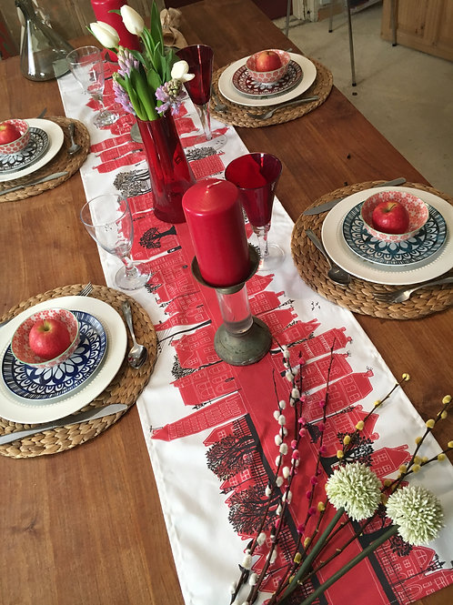On the Street Crimson  | Table Runner