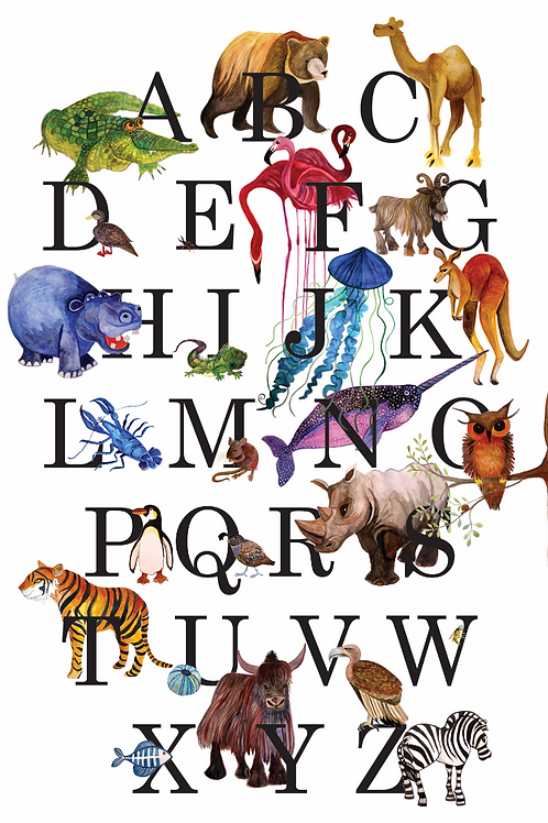 Art Print - an alphabet of animals painted in water colour paint