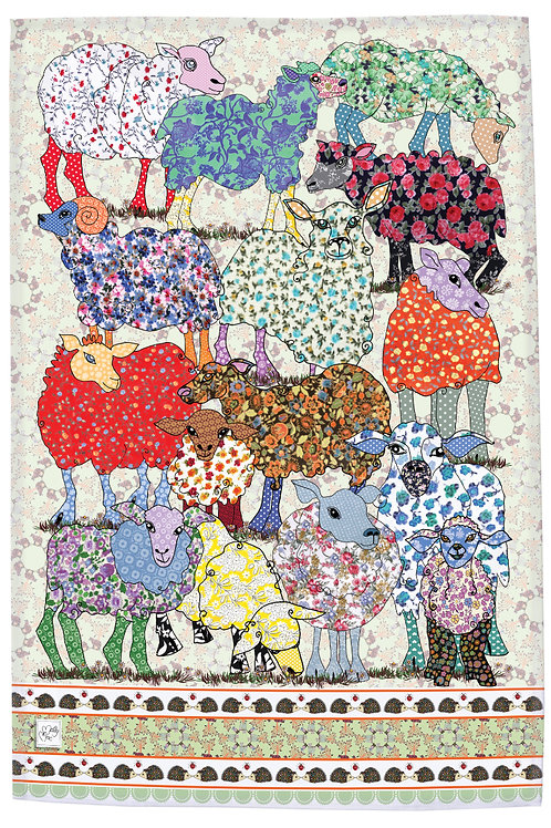 sheep tea towel. Printed kitchen towel with sheep in a variety of patterns, vibrant and pretty