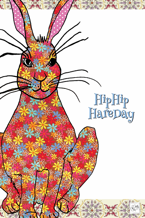Tea towel with hare/ rabbit and slogan saying 'Hip hip hare day'