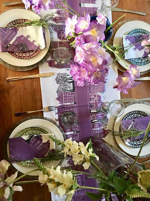 On the Street Deep Purple    Table Runner & Napkins Set