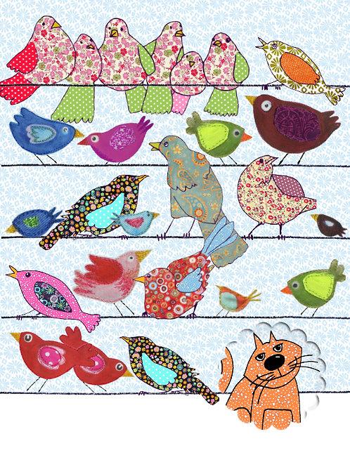 Singing Birds, Hidden Cat | Card