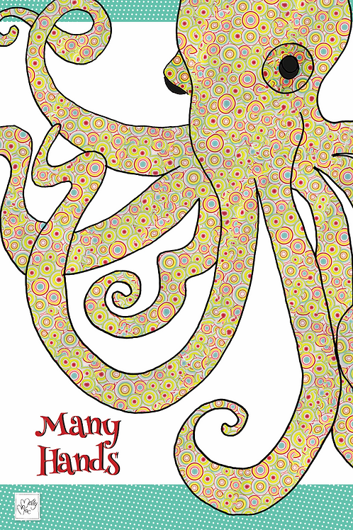 Octopus  design by MollyMac, cotton printed kitchen towel with slogan 'Many hands'