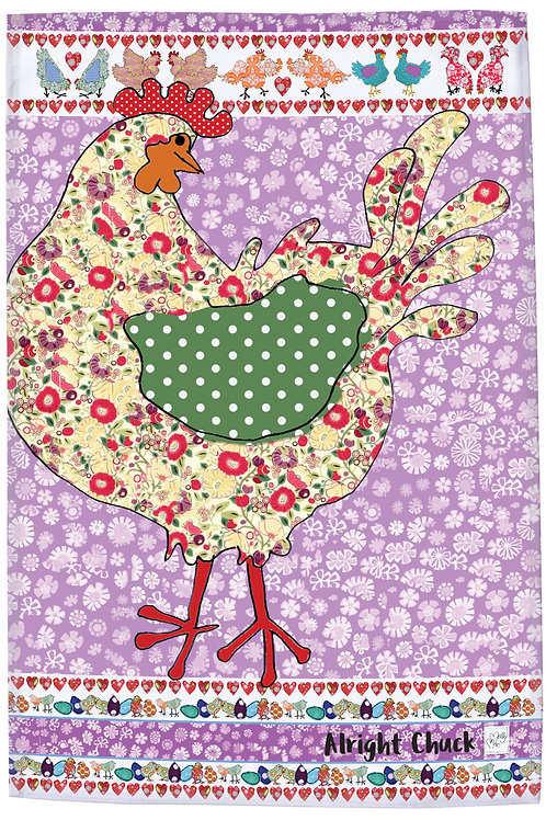 Multicolored chicken  design by MollyMac, hen cotton printed kitchen towel with slogan 'Alright Chuck'