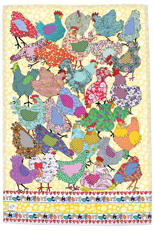 Multicolored chicken  design by MollyMac, hen cotton printed kitchen towel