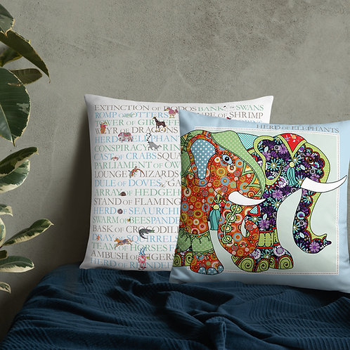 Animal Collective Nouns | Herd of Elephants | Throw Cushion | 22""