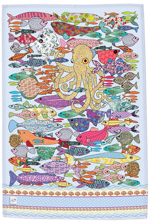 Fish design by MollyMac, cotton printed kitchen towel - multi coloured with Octopus