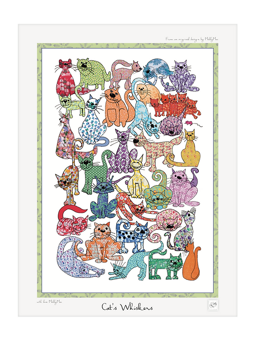 Cat collection art print with border