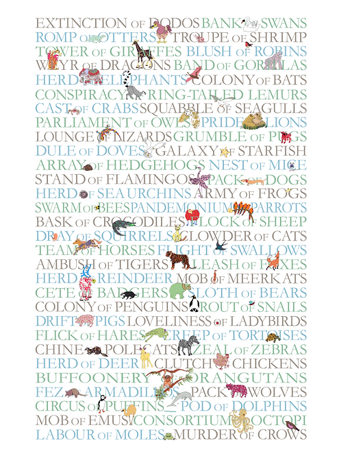 Art print - Collective Nouns of animals