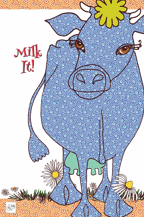 Blue cow design by MollyMac, cotton printed kitchen towel with slogan 'Milk It!'