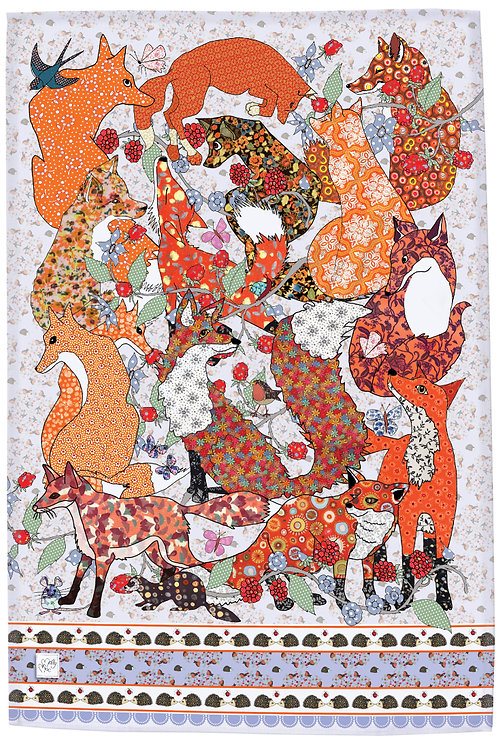Orange tea towel foxes,  design by MollyMac, cotton printed kitchen towel