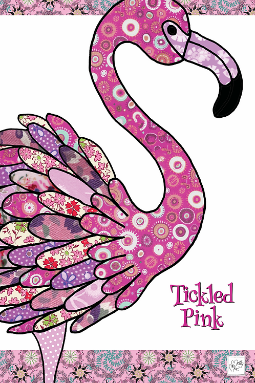 Pink flamingo design by MollyMac, cotton printed kitchen towel with slogan 'Tickled Pink'