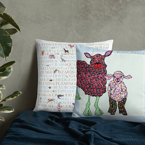 Animal Collective Nouns | Flock of Sheep | Throw Cushion | 22""