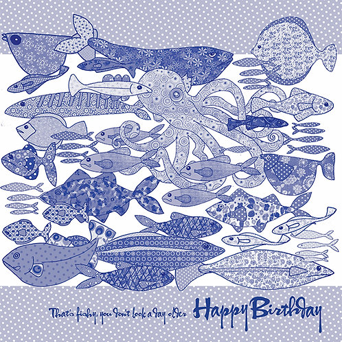 Blue Happy Birthday, that's fishy you don't look a day older | Card
