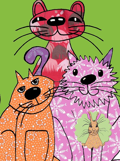 Three Cats Hidden Hare | Card