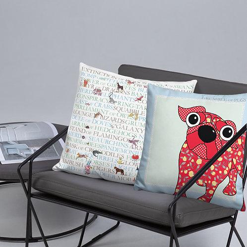 "Animal Collective Nouns | Grumble of Pugs | Throw Cushion | 18"""