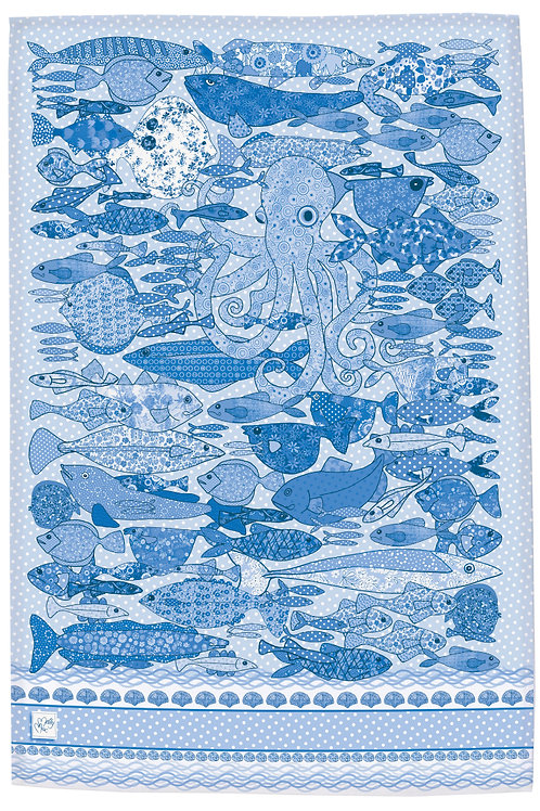 Fish design by MollyMac, cotton printed kitchen towel - blue and white with Octopus